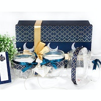 UCHII Eid Hampers Lebaran Parcel Eksklusif Glassware Gift Box Set Blue