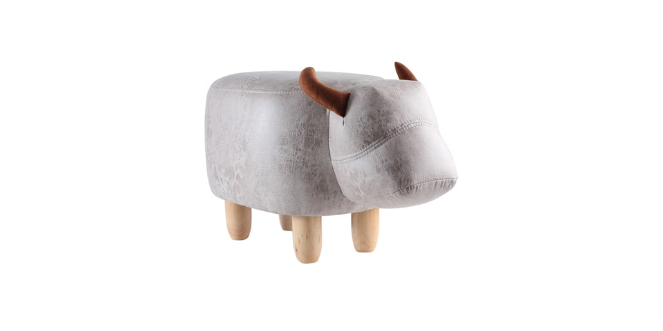 UCHII Animal Portable Sofa | Bangku Karakter Anak Bull - Light Grey
