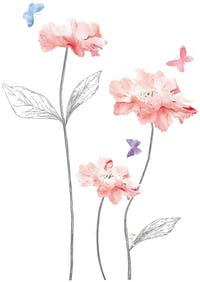 Iwallyou Wall Sticker Pink Floral