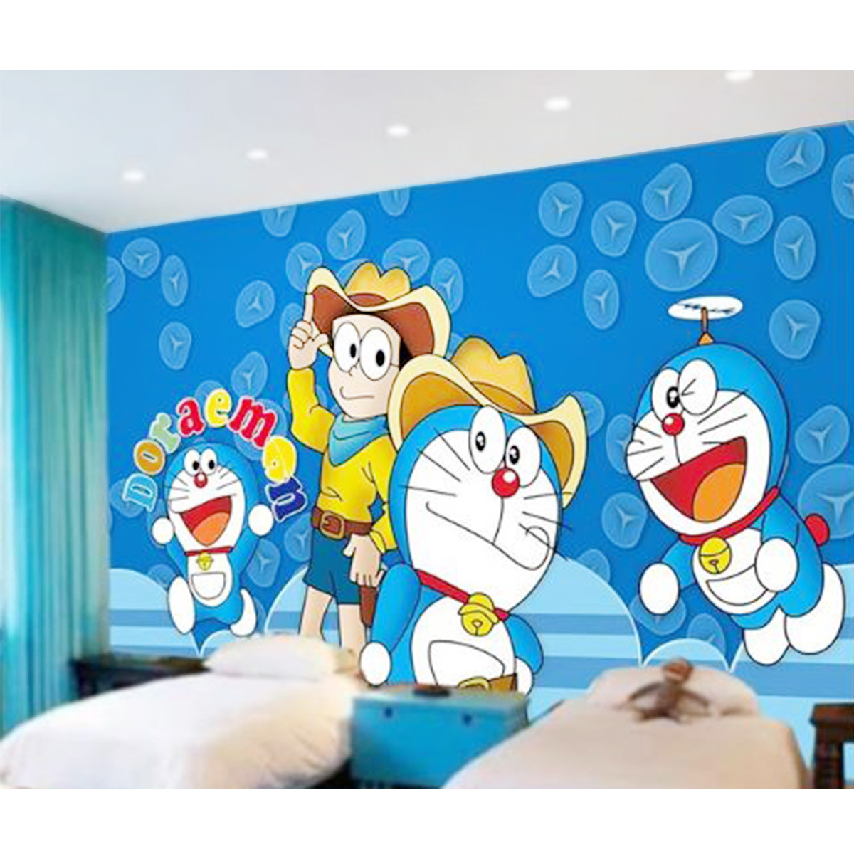 Luxurious Wallpaper Custom 3D Motif Doraemon 3
