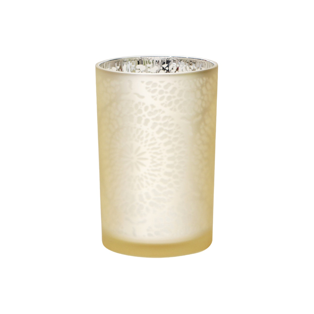 Vivere Hurricane Candle Holder Round Lace Gold 12x18 cm
