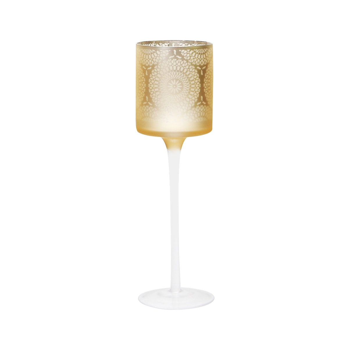 Vivere Hurricane Candle Holder Round Lace Gold 9x30 cm