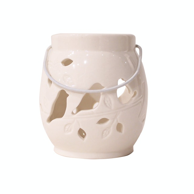Vivere Tea Light Candle Holder Birds Tree White 9.5x10.5cm