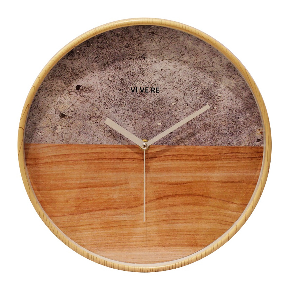 Vivere Wall Clock Stone Wood Gray Brown