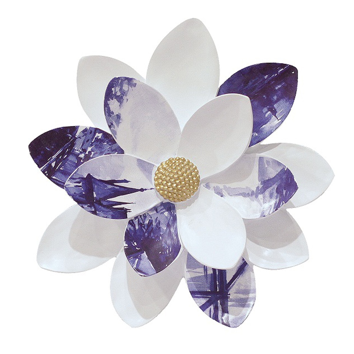 Vivere Object Deco Flower White Blue 27cm