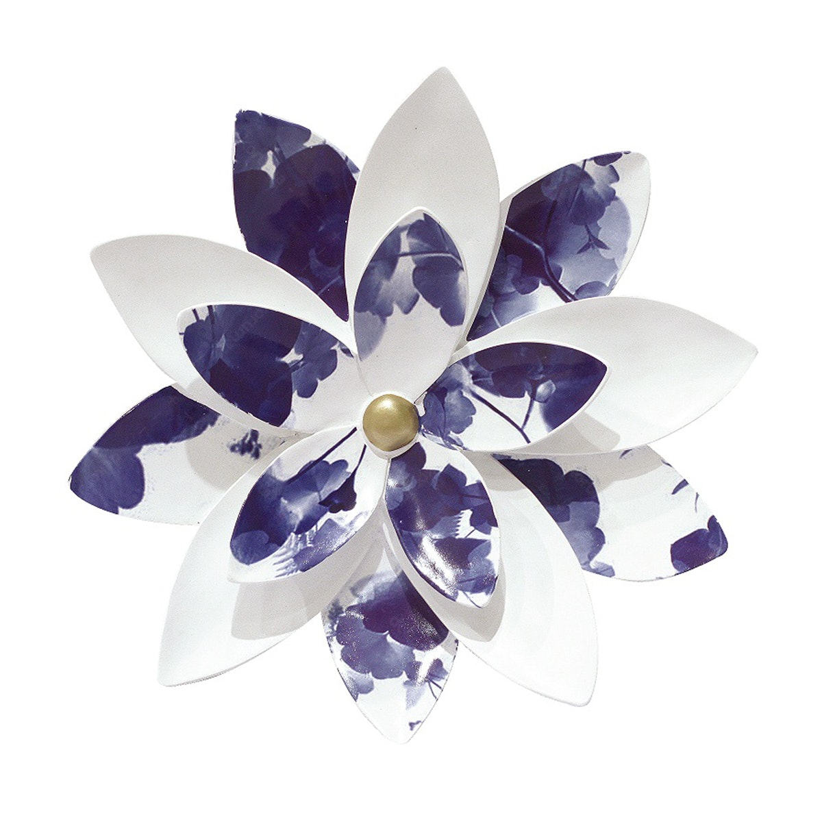 Vivere Object Deco Flower White Blue 38cm