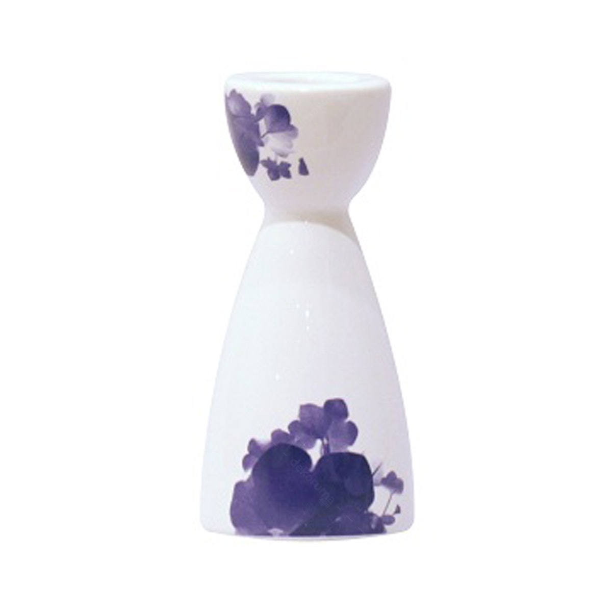 Vivere Tapper Candle Holder Small Flower White Blue 5.5 cm