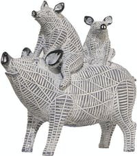 Vivere Object Deco Three Piggy Blu 20x19cm