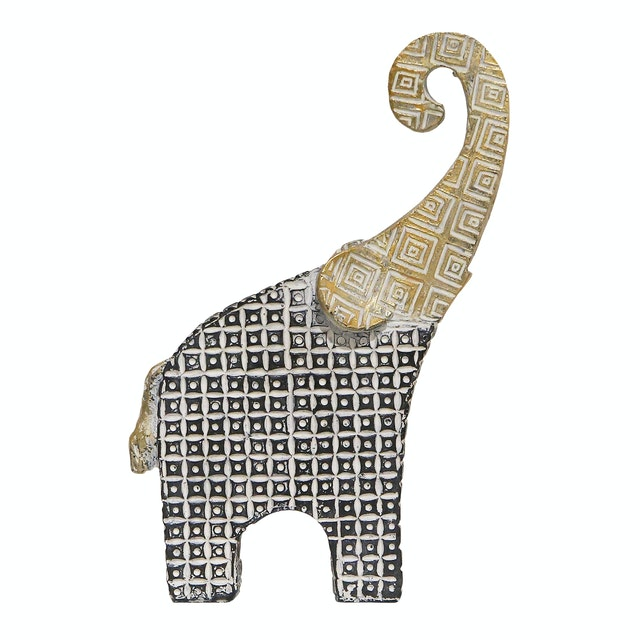 Vivere Object Deco Elephant Ethnic Up Blu 14x21