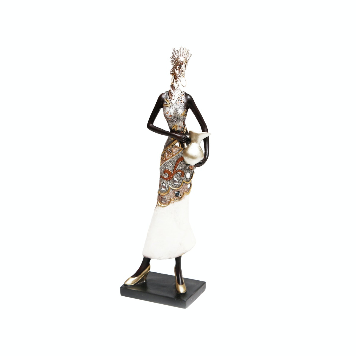 Vivere Object African Lady Down Silver 10x6.5x35cm