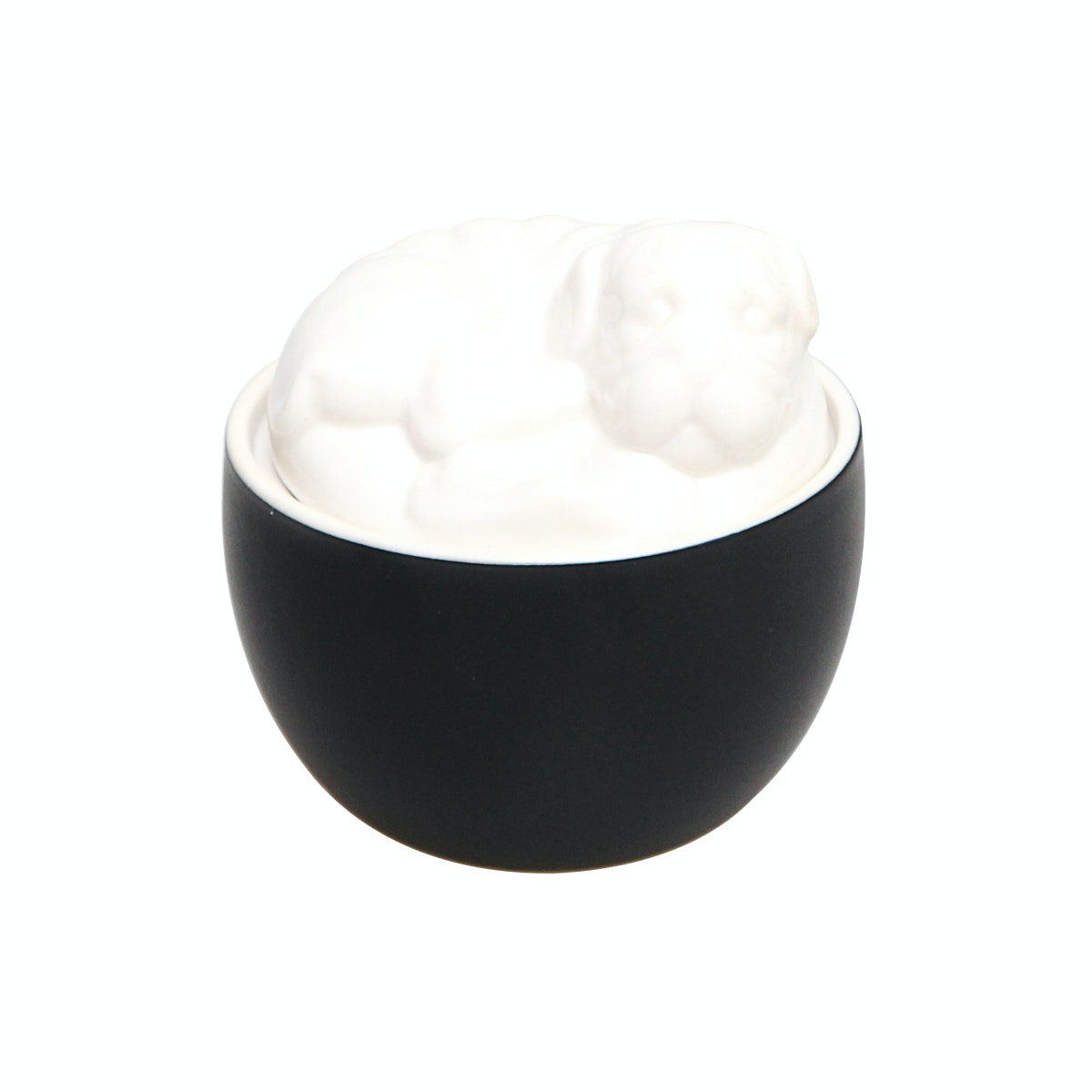 VIVERE Bowl Dog Black White 12x12x11cm