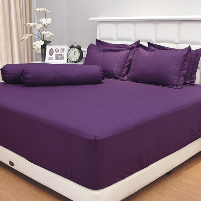 Vallery Quincy Set Sprei Jacquard - Purple 180x200x30cm