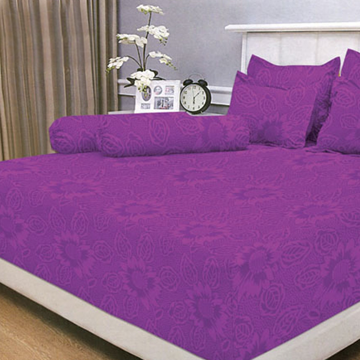 Vallery Quincy Set Sprei Jacquard - Light Purple 120x200x30cm