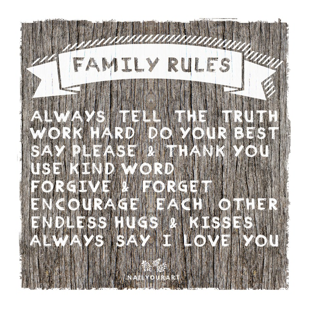 NailYourArt Wall Sign Large - FAMILY RULES
