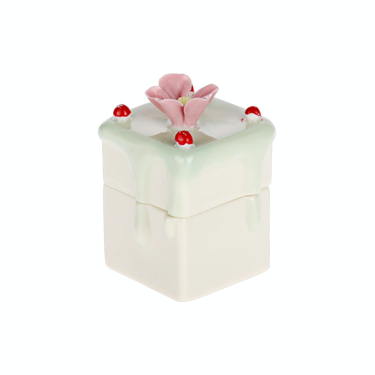 Wooden House Green Cake Trinket Box