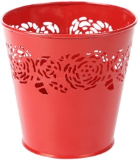 J A R A K Flowery Red Tin Pot