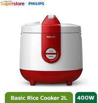 Philips Rice Cooker 2 Liter - HD3119/32 Basic Red
