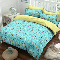 Yukero Sprei Motif Snoopy Happy Dance Turkis 180x200x20